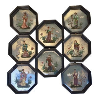 Vintage Chinoiserie Mirror Collection - 8 Pieces For Sale