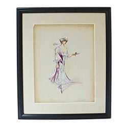 Original Folies Bergère Costume Design Sketch For Sale