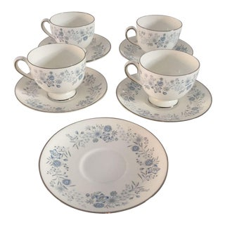 Wedgwood Fine China Tea Cups & Saucers - Set of 9 For Sale