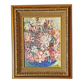 1990s Vibrant Floral Acrylic Painting by Artist SusanKay