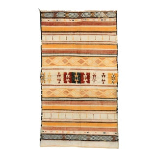 Boho Chic Vintage Berber Moroccan Kilim Rug with Tribal Style For Sale