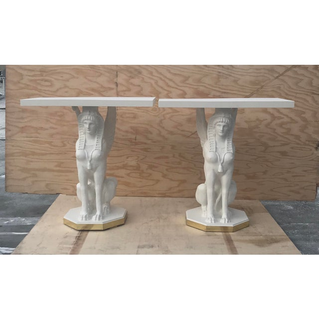 Egyptian Bastet Console Tables - a Pair For Sale - Image 4 of 13