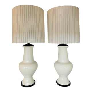 Vintage White Ceramic Table Lamps With Pinstriped Shades - a Pair For Sale