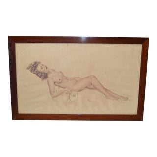 Signed French Neoclassical Framed & Glass Cover Painting Resting Nude Woman 40s For Sale