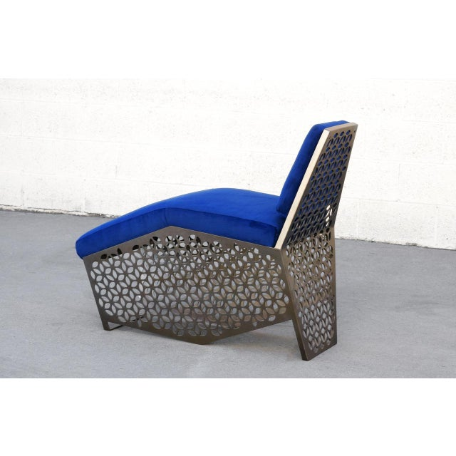 Modern Petite Chaise Lounge Chair by Rehab Vintage Interiors, Custom Made to Order For Sale - Image 4 of 7