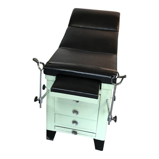 Vintage Medical Examination Table and Cabinet For Sale