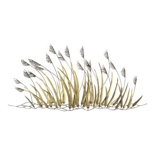 Jere Style Brutalist Brass Copper Tall Grass Reeds Wall Sculpture For Sale
