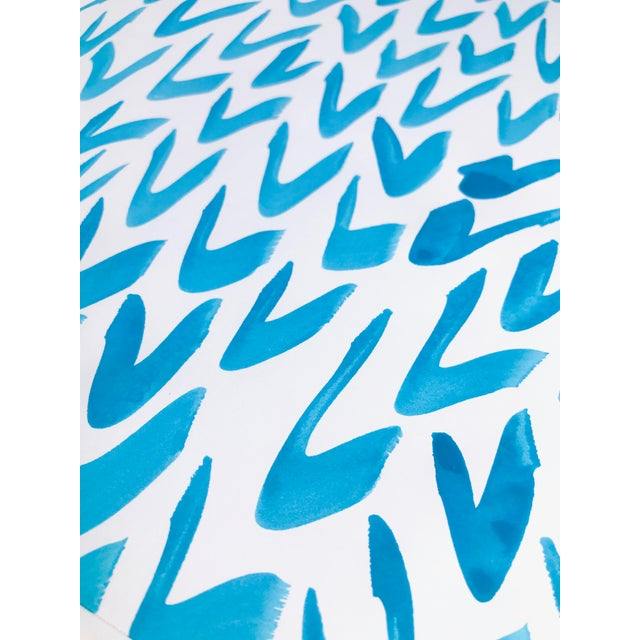 Abstract Contemporary Blue and White Pattern Painting For Sale - Image 3 of 5