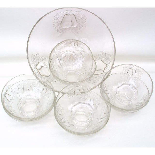 1930's Indiana Glass Pear Dessert Berry Bowls Set - Image 4 of 8