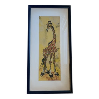 Mid 20th Century Giraffe Painting, Framed For Sale