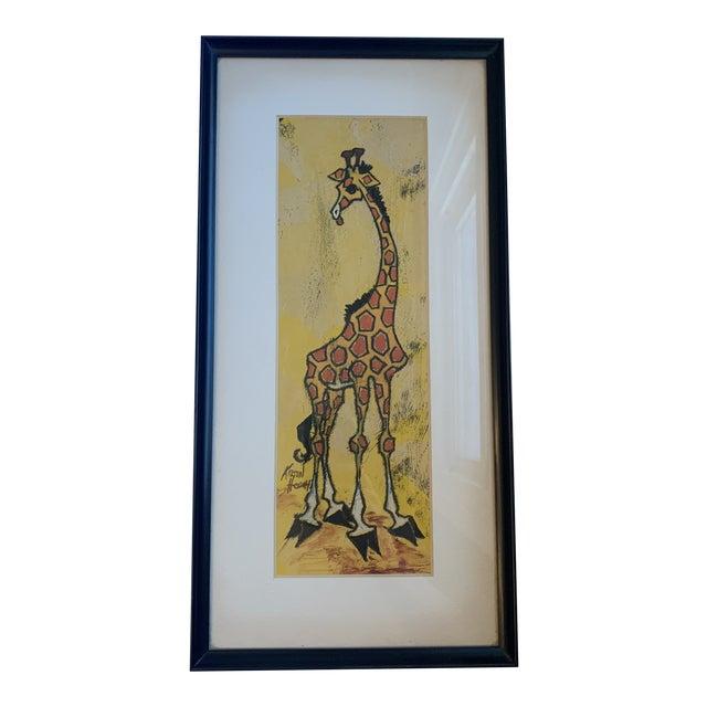 Mid 20th Century Giraffe Painting, Framed For Sale