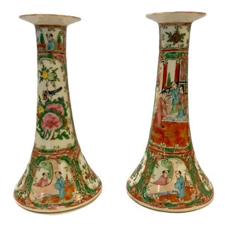 Chinese Export Rose Canton Candlesticks, C. 1860-1870 - a Pair For Sale