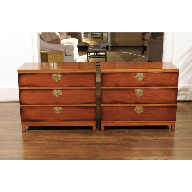 Tan Chic Restored Pair of Michael Taylor Style Chests, Circa 1957 For Sale - Image 8 of 13