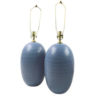 Pair of Mid Century Striped Blue Ceramic Table Lamps After Glidden For Sale