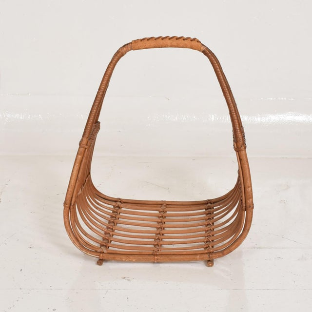 Boho Chic Franco Albini Italian Mid-Century Modern Magazine Rack Holder Basket For Sale - Image 3 of 11