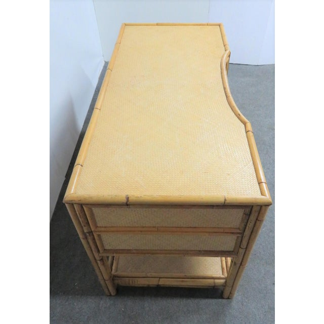 Victorian Style Bamboo & Woven Desk For Sale - Image 4 of 7