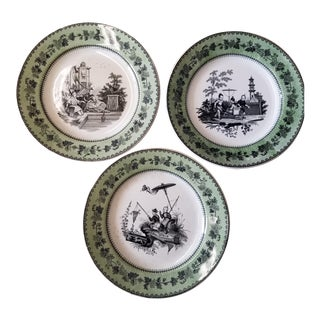 Antique Creil Plates With Chinoiseire Black Transfer Scenes & Green Borders - Set of 3