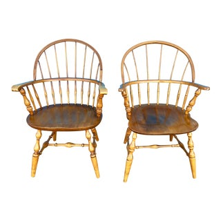 Bow Back Windsor Arm Chairs - a Pair