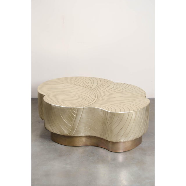 Robert Kuo Leaf Design Cocktail Table - Brass For Sale - Image 4 of 7