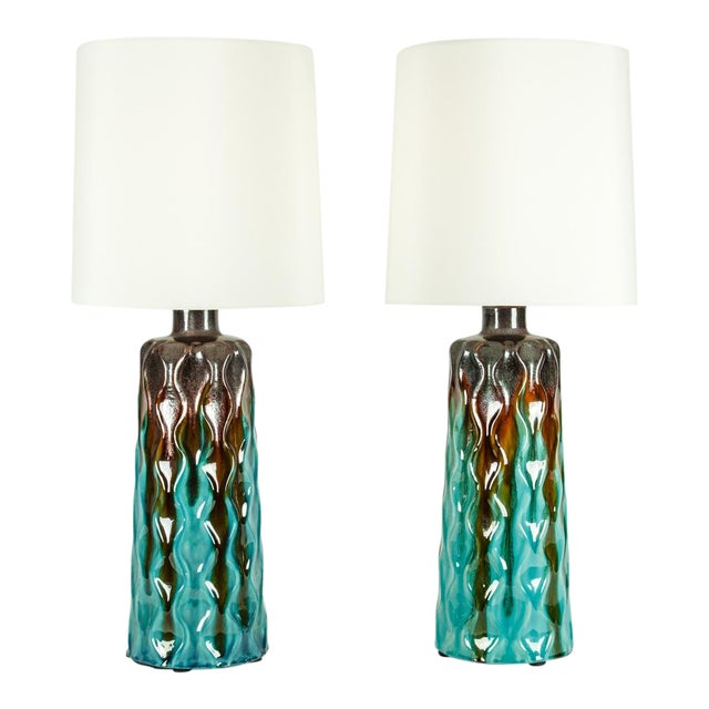 Vintage Mid-Century Modern Glazed Porcelain Table Lamps - a Pair For Sale