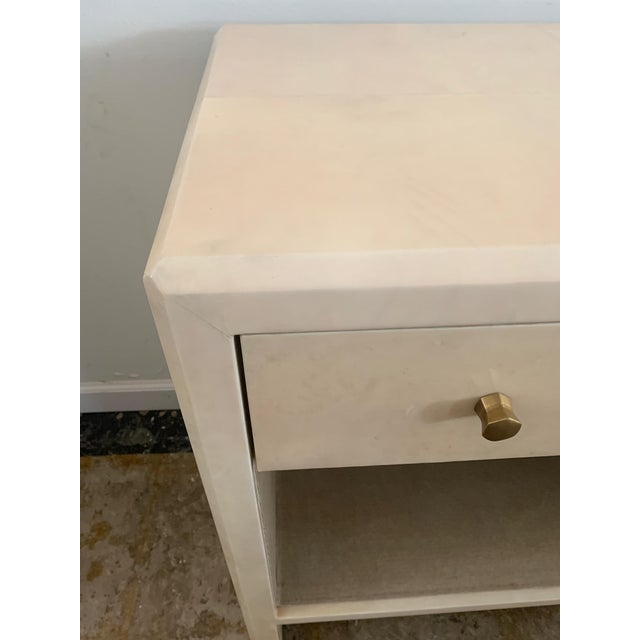Polished Faux Vellum Nightstands From Made Goods - a Pair For Sale - Image 11 of 13