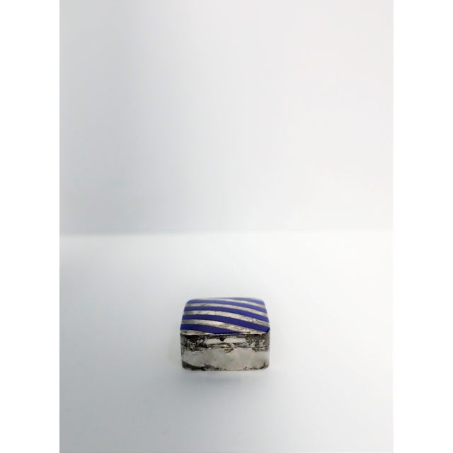 Cartier Cartier Sterling Silver and Blue Enamel Pill Box For Sale - Image 4 of 8