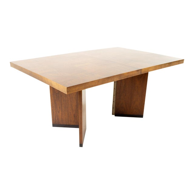 Paul Evans Style Lane Mid Century Brutalist Patchwork Walnut Pedestal 10 Person Dining Table - Set of 3 For Sale