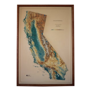 1993 Vintage Raised Relief Map of California in Wood Frame For Sale