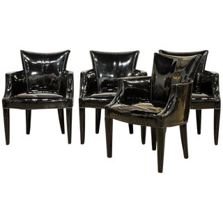Group of Four Black Vinyl Covered Salon Armchairs by John Hutton for Donghia For Sale