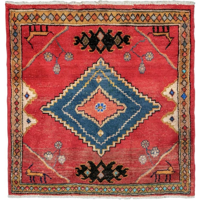 "Vintage Persian Mahal Rug – Size: 2' 9"" X 2' 11 For Sale - Image 10 of 10"