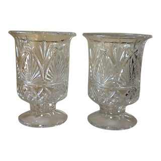 Large Elegant Cut Glass Crystal Vessels - a Pair For Sale