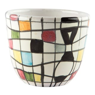 Petite Hand Painted Italian Abstract Planter For Sale