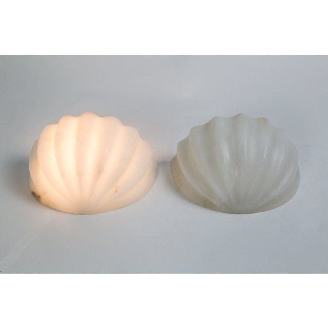 Vintage Carved Alabaster Shell Sconces by Boyd - a Pair For Sale In San Francisco - Image 6 of 11