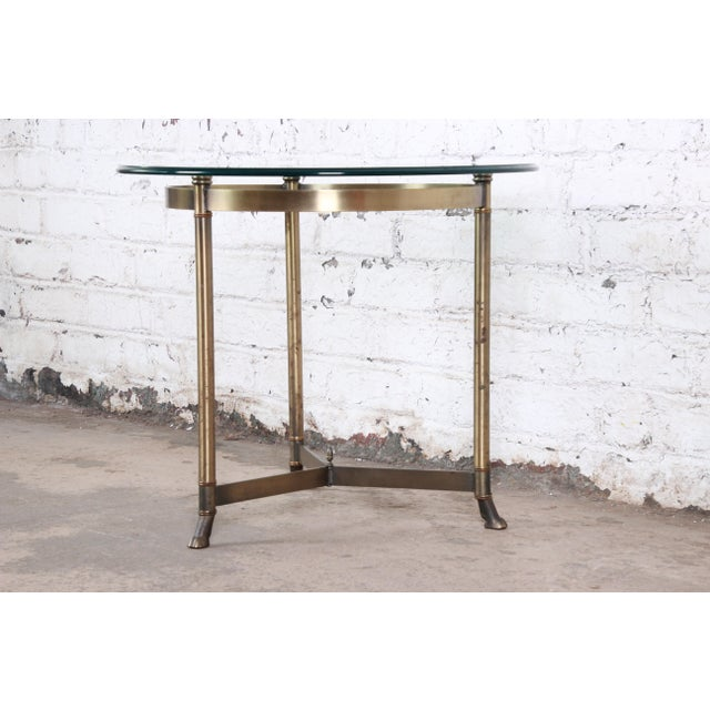 Hollywood Regency Labarge Midcentury Hollywood Regency Brass and Glass Hooved Feet Side Table For Sale - Image 3 of 6