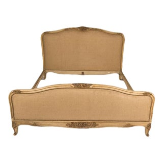 1940s French Louis XV Style Queen Size Burlap Upholstered Bedframe For Sale