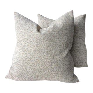 "Duralee ""Hewlett Linen"" Taupe Animal Print Pillows - a Pair"