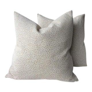"Duralee ""Hewlett Linen"" Taupe Animal Print Pillows - a Pair For Sale"
