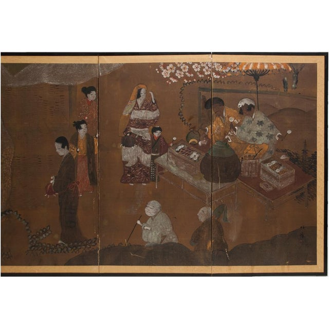 Asian C. 1920s Japanese Market Scene Gold Leaf Byobu Screen For Sale - Image 3 of 13