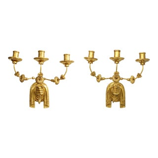 Custom Pair of Giltwood Hand-Carved Sconces For Sale