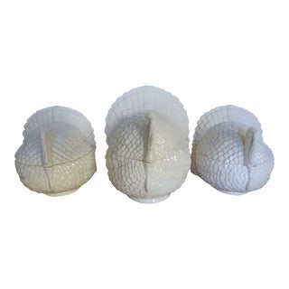 Heirloom Turkey Bisque Figurine Jars - Set of 3 For Sale
