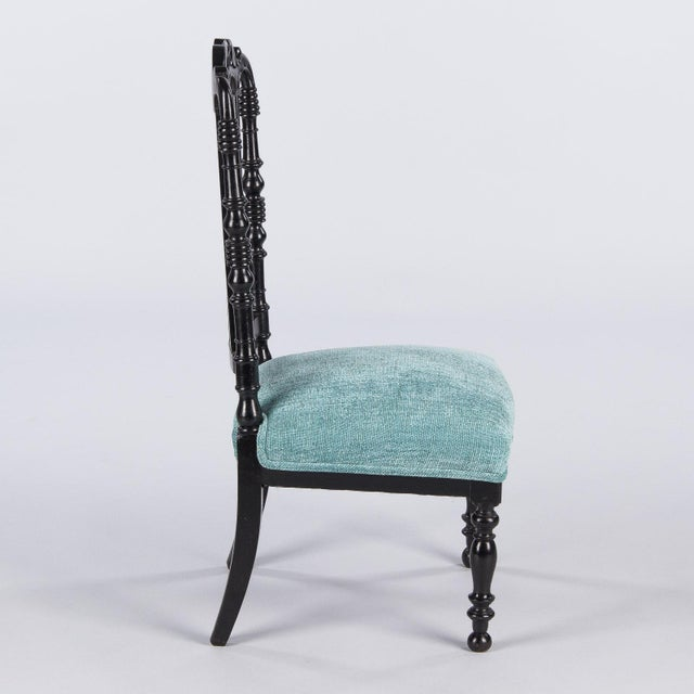 "Contemporary Napoleon III Ebonized ""Chauffeuses"" Low Chairs - A Pair For Sale - Image 3 of 13"