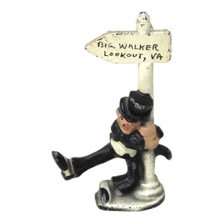 1940s Vintage Big Walker Lookout, Virginia. Souvenir Novelty Cast Iron Bottle Opener For Sale