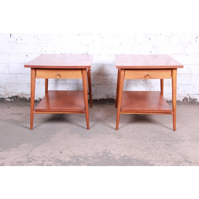 A gorgeous pair of mid-century modern nightstands or side tables designed by Paul McCobb for his Planner Group line for...