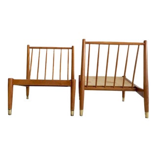 Mid-Century Beech Swedish Spindle Back Slipper Chairs - A Pair