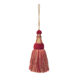 Key Tassel in Red and Gold With Looped Ruche Trim For Sale