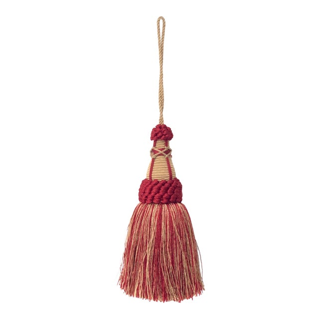 Red and Gold Key Tassels With Looped Ruche - a Pair For Sale