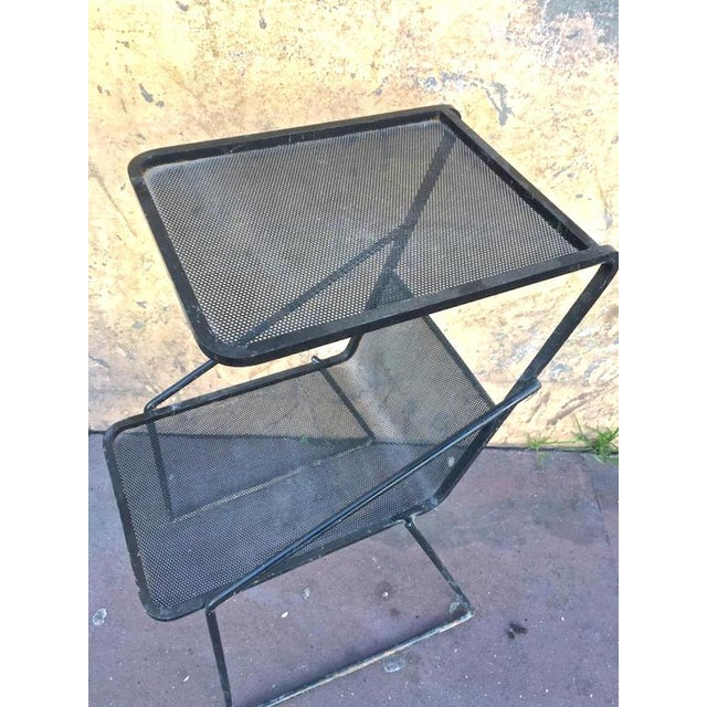 Contemporary Mathieu Matégot Genuine Documented Black Side Table With Rigitule Shelves For Sale - Image 3 of 6