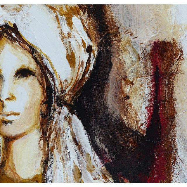 White Oil on Panel Board of a Seated Woman With Headscarf, Unsigned C1965 For Sale - Image 8 of 11