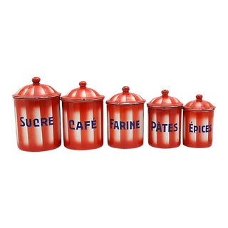 Mid-Century French Enamelware Kitchen Canisters - Set of 5 For Sale