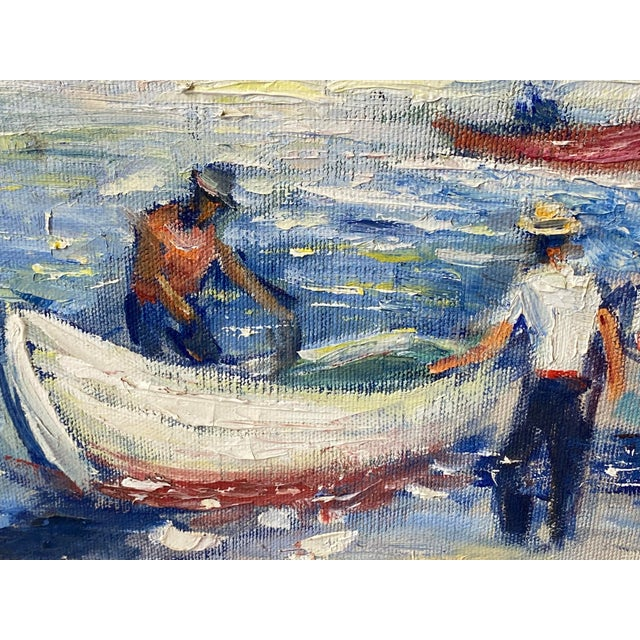 """Canvas Midcentury French Oil Painting on Canvas, """"Saint-Tropez, France"""" - 1962 For Sale - Image 7 of 13"""